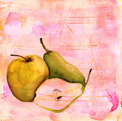 Watercolour apple, a pear and half a pear