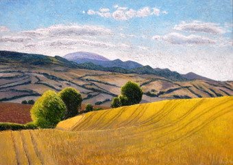 Drawing (Soft pastels): Summer landscape Italy