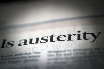 Austerity written news paper Wall mural