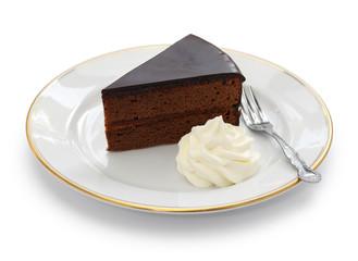 homemade sachertorte, Austrian chocolate cake isolated on white background