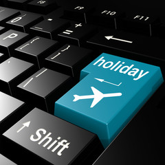 Holiday word on the blue enter keyboard