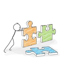 Strichmännchen beim zusammenfügen von Puzzleteilen - Puzzle, Puzzel, Teile, Stücke, lösen, zusammenfügen, ergänzen, Ziel, Strategie, Lösung, Problem, parts, pieces solve, together, solution, business