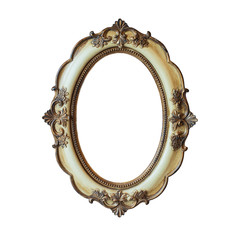Classic golden frame isolated on white background