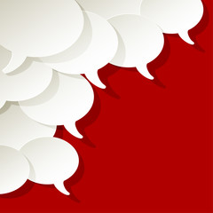 chat speech bubbles ellipse vector white in the corner on a red background