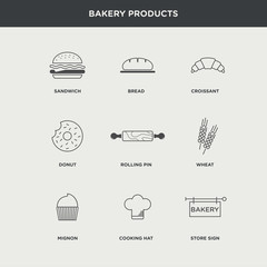 Vector graphic minimalist icon set of bakery products