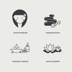 Beauty icon set in minimal style, line symbols