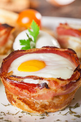 Bacon and eggs breakfast muffin