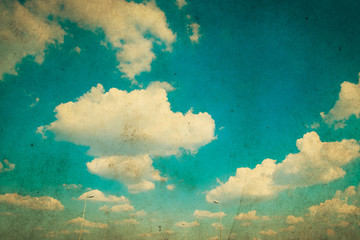 Poster Retro Cloud and sky in grunge paper filter.