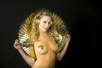 fantasy sexy gold disco woman