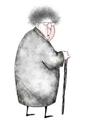 Cartoon of Surprised Old Lady