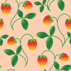 strawberry pattern with pink background