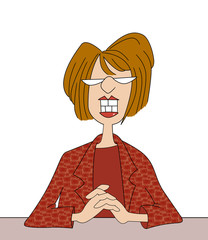 Smiling Office Lady With Big Teeth