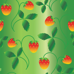 strawberry pattern with green background
