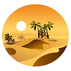Пейзаж пустыни с оазисом в векторе.
