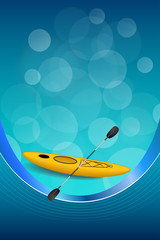 Background abstract blue kayak sport yellow ribbon vertical frame
