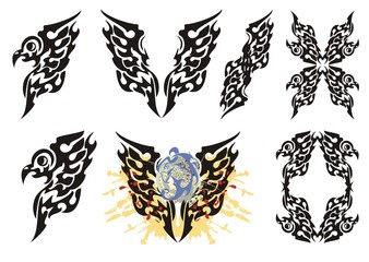 Tribal flaming eagle elements