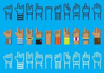 Ten hand sign vector pixel art design