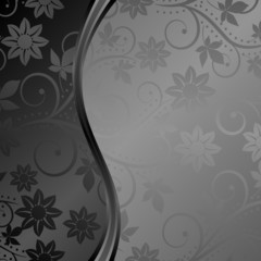 black background with floral ornaments