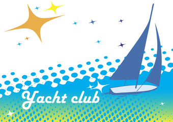 Yacht club banner.Blue background.Abstract sea motive