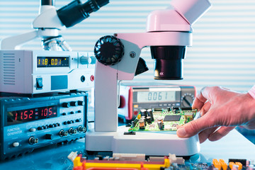 Microelectronics laboratory with the measuring instruments and m