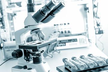 microscope in medical laboratory