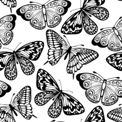 Beautiful seamless background of butterflies black and white colors