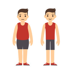 Cute cartoon man in sport clothes with two body types: overweight and slim. Weight loss before and after illustration.