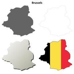 Brussels outline map set