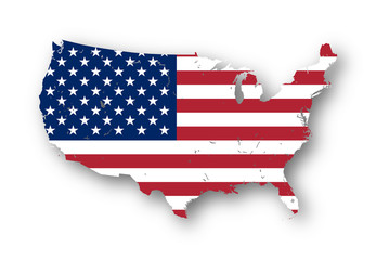 High resolution map of the USA with american flag. You can easily remove the shadows, or to fill in the map in a different color - clipping path included.
