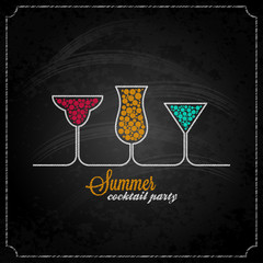 summer cocktail party design chalk background