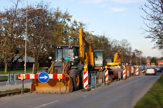 Closed road, work on repair maintenance