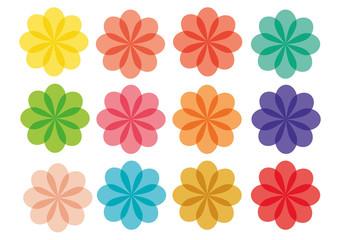 Pacote Flores coloridas vetores
