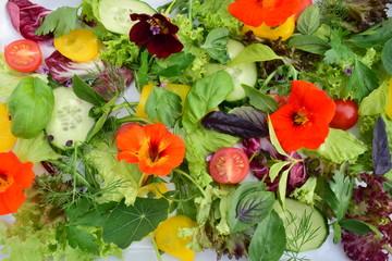 Salat mit Kräutern und Kapuzinerkresse