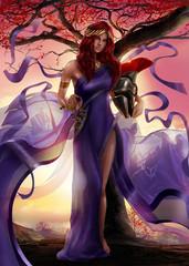 Greek goddess Athena standing with spartan warrior golden helmet.