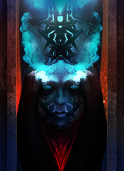 Horror and scary tribal woman portrait with blue fire crown character design.