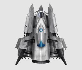 Spaceship illustration. Isolated futuristic fantasy steel spaceship illustration art.