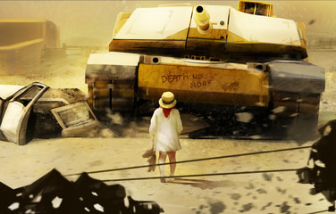 Little girl in hat walking towards moving tank illustration.