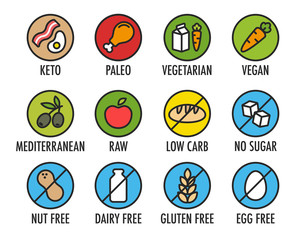 Set of colorful round icons of various diets and ingredient labels. Including ketogenic, paleolitic, vegetarian, vegan and more.