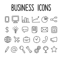 Set of hand drawn business and communication line icons.
