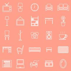 Living room line icons on orange background