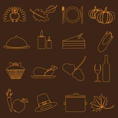 thanksgiving symbols color outline icons set eps10