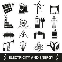 electricity and enegry icons and symbol eps10
