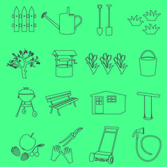 garden simple outline symbols and icons eps10
