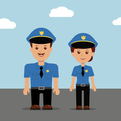 Set of vector illustration police peoples.