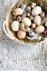 easter eggs in rustic basket