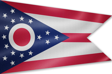 Ohio flag on the fabric texture background