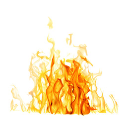 Acrylic Prints Fire / Flame light and dark yellow flame isolated on white