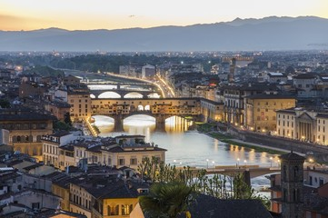Ponte Vecchio and Arno river at dusk, Florence