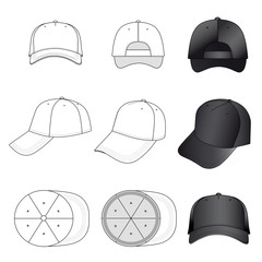 Baseball, tennis cap outlined template