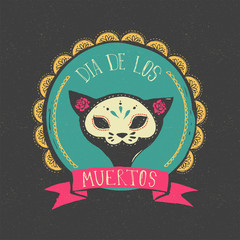 print - mexican skull, day of the dead